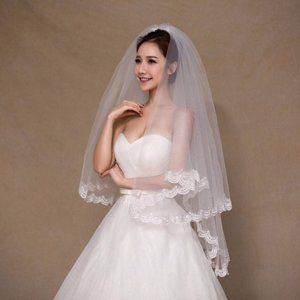 Accessories - Two Layer Lace Bride Floral Wedding Veil IVORY